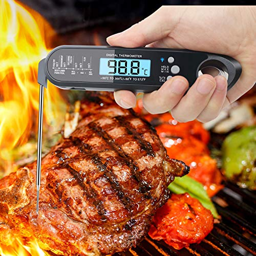 Meat Thermometer, Food Thermometer with Bottle Opener, Waterproof Kitchen Thermometer, Instant Read BBQ Wireless Probe Cooking Thermometer for Milk&Candy&Bread