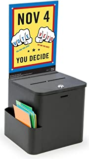 Displays2go Suggestion and Ballot Box with Locking, 8.5 x 11 Inches, Black Metal (MSBCBC8BLK)