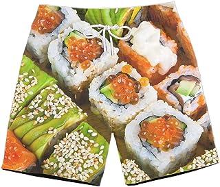 XIELH Shorts Summer 3D Printed Beach Pants Home Plus Size Loose Pants 3D Sushi Print Beach Shorts