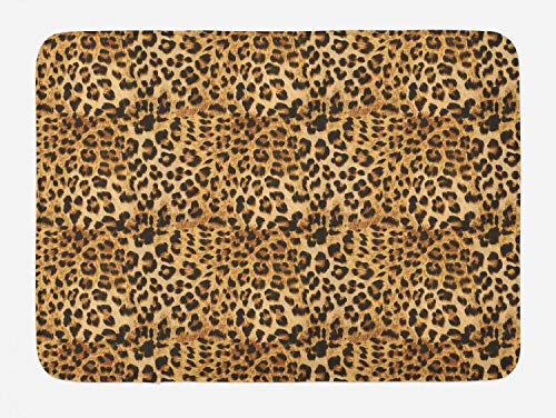 Ambesonne Brown Bath Mat, Leopard Print of Animal Skin Digital Concept Wild Safari Themed Spotted Creature Pattern Abstract Spots, Plush Bathroom Decor Mat with Non Slip Backing, 29.5' X 17.5', Brown