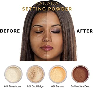 PHOERA Powder Loose Face Powder Translucent Smooth Setting Foundation Makeup By lotus.flower (Banana)