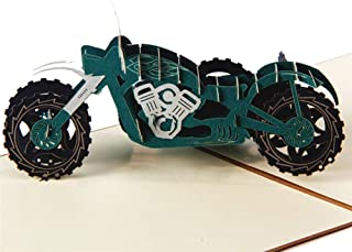 HUNGER Handmade 3D Pop Up Harley-Davidson Motorcycle Birthday Cards Creative Greeting Cards Papercraft (Q513206)