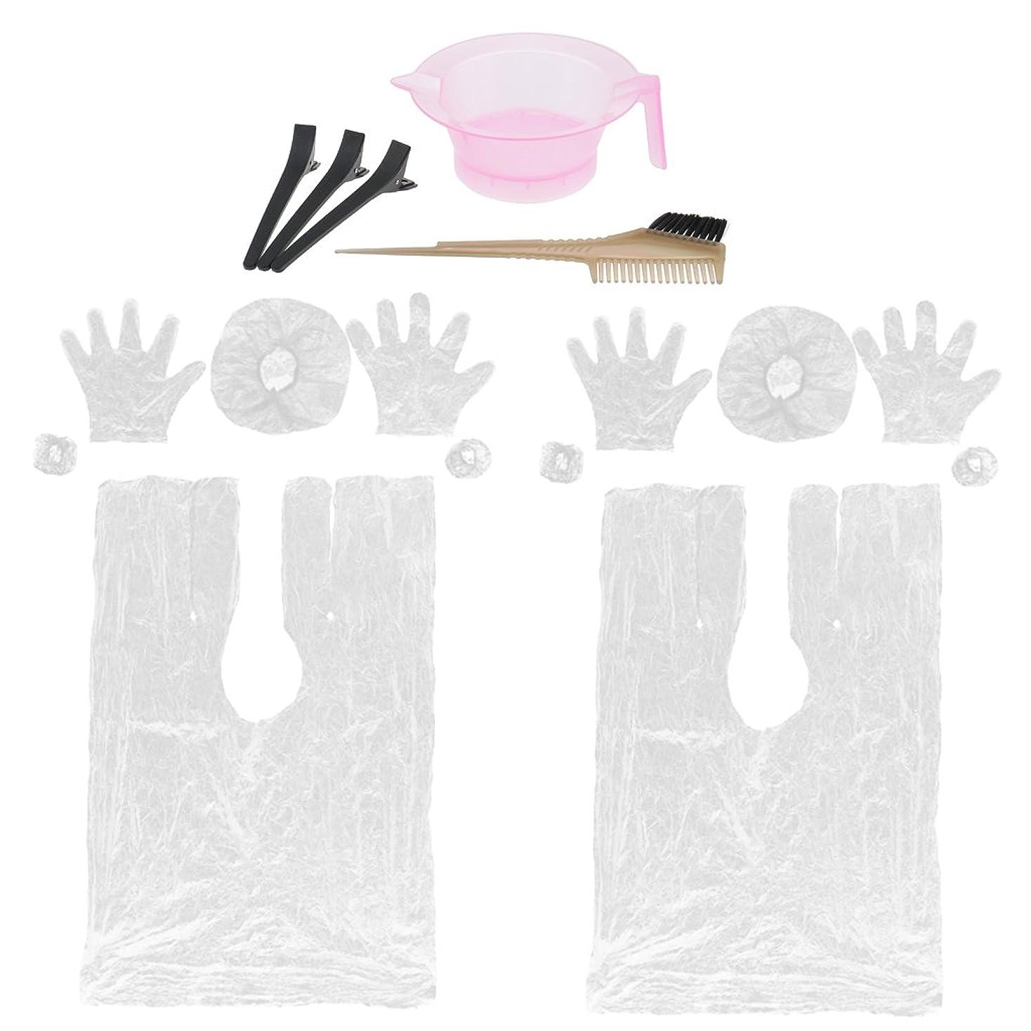 妨げる比率約束するBaoblaze 17個 髪染めキット 染色ブラシ 櫛 ミキシングボウル セクション クリップ イヤーマフス バーバーケープ キャップセット サロンツール 交換性 便利性