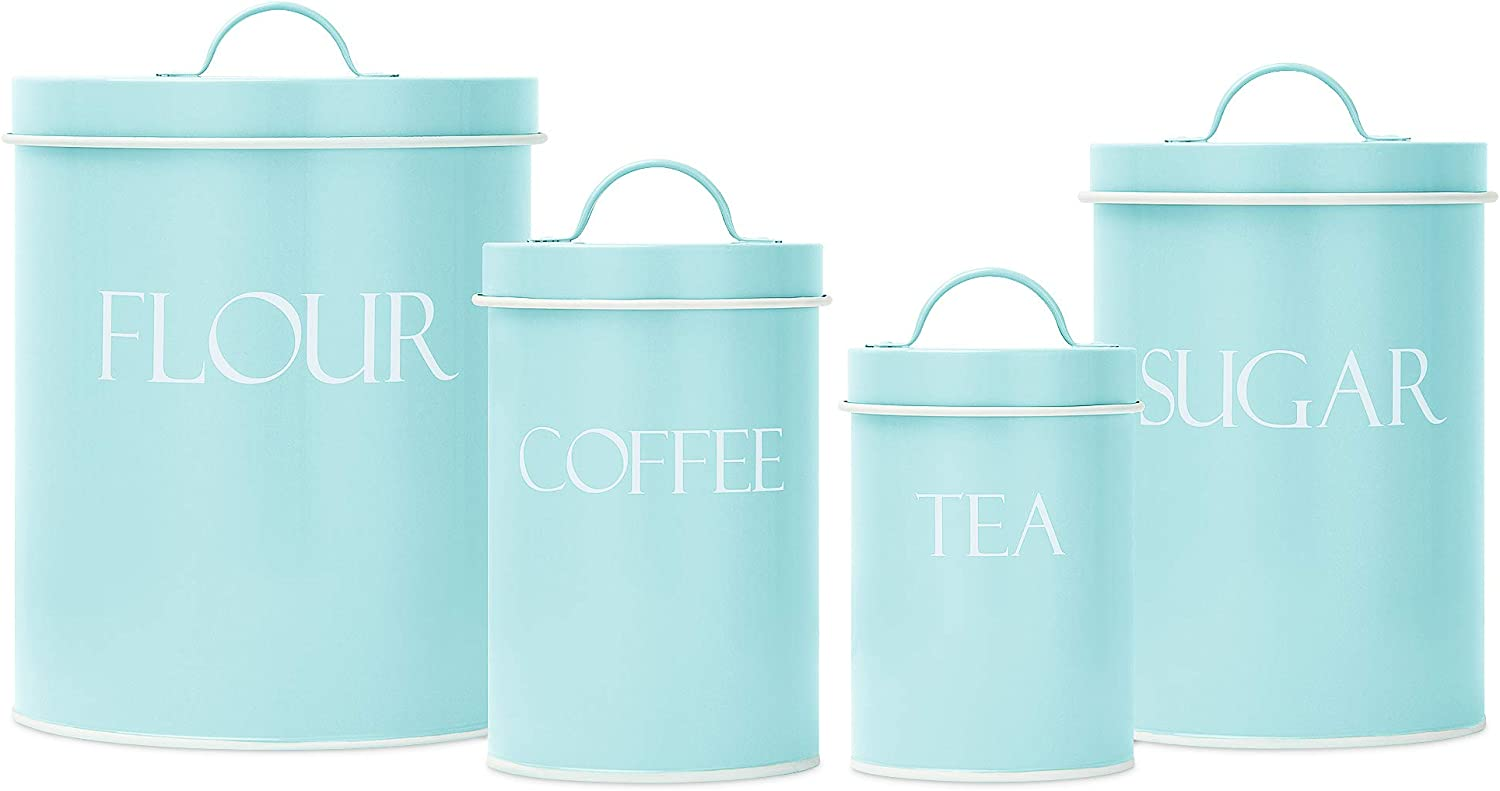 Amazon Com Outshine Mint Farmhouse Nesting Kitchen Canisters Set Of 4 Kitchen Canister Set Perfect For Flour Coffee Tea Sugar Coffee Bar Accessories Gift For Housewarming Birthday Wedding Kitchen Dining