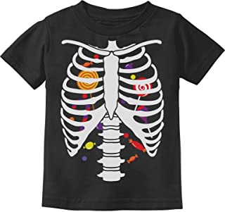 Candy Skeleton Rib-cage X-Ray Front and Back Halloween Toddler Kids T-Shirt