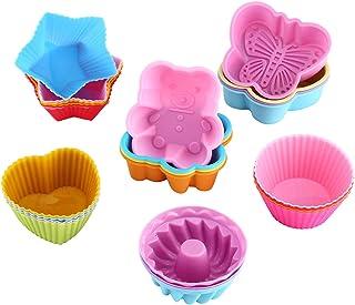 WOMGF 26 Moules à Muffin Moules de Cuisson en Silicone Réutilisables Moules à Cupcakes en Silicone Réutilisables antiadhés...