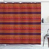ABAKUHAUS Orange Duschvorhang, Abstrakte Ethno Doodle, Personenspezifisch Druck inkl.12 Haken Farbfest Dekorative mit Klaren Farben, 175 x 180 cm, Orange Rote Pflaume