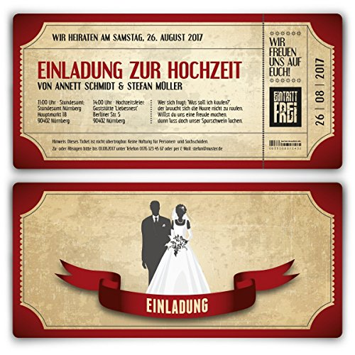 Einladungskarten zur Hochzeit (30 Stück) als Eintrittskarte im Vintage Ticket Look Hochzeitskarten in Rot