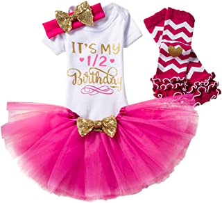 97a36d821 IWEMEK Bebé Niñas 1er / 2 ° Cumpleaños Princesa Trajes de Fiesta 3pcs/4pcs  Conjunto