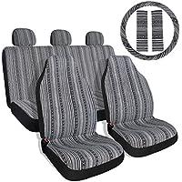 10pc rayas colorido cubierta del asiento baja azul sillín asiento Universal de tejido de manta, con volante cubierta delantera y trasera...