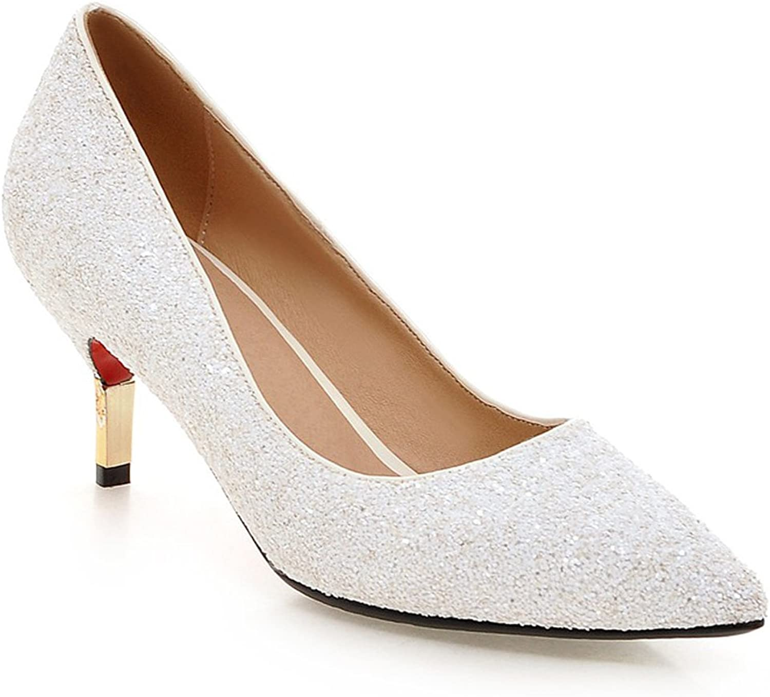 MINIVOG Women's Pointed Toe Sequins High Heel Pump shoes