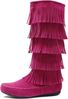 Lima - Womens Western Fringe 3-Tier Moccasin Flat - Faux Suede Mid Calf Boots