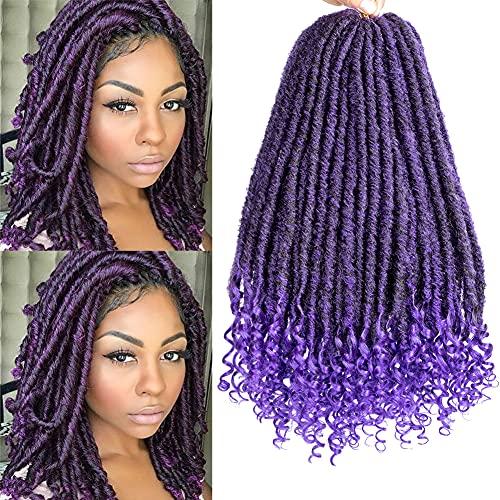 Goddess Faux Locs Crochet Hair 6 Packs Crochet Braids Hair 18 Inches Straight Synthetic Braids Hair With Curly Ends Hand Made Braiding Hair For Black Women (1B/Purple)…