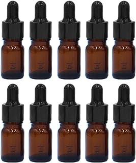 Esencial Botella de Aceite[10PCS],Vococal® Portátiles 5ML Botellas de Vidrio Recargables Vacías para Aceite Esencial/Perfume/Líquido,Envases Botellas con Cuentagotas (Marrón)