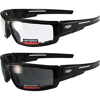Lot of 2 Motorcycle Padded Glasses Sunglasses Clear and Smoke ATV Quad Moped