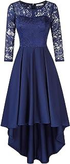 KOJOOIN Damen Kleider Abendkleider Brautjungfernkleider für Hochzeit Cocktailkleid Unregelmässiges Langes Spitzenkleid Verpackung MEHRWEG