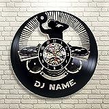 Gullei.com - Reloj de pared de vinilo con nombre de DJ personalizable