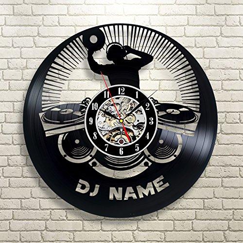 Personalisierte große DJ Name Geschenk Vinyl Wanduhr