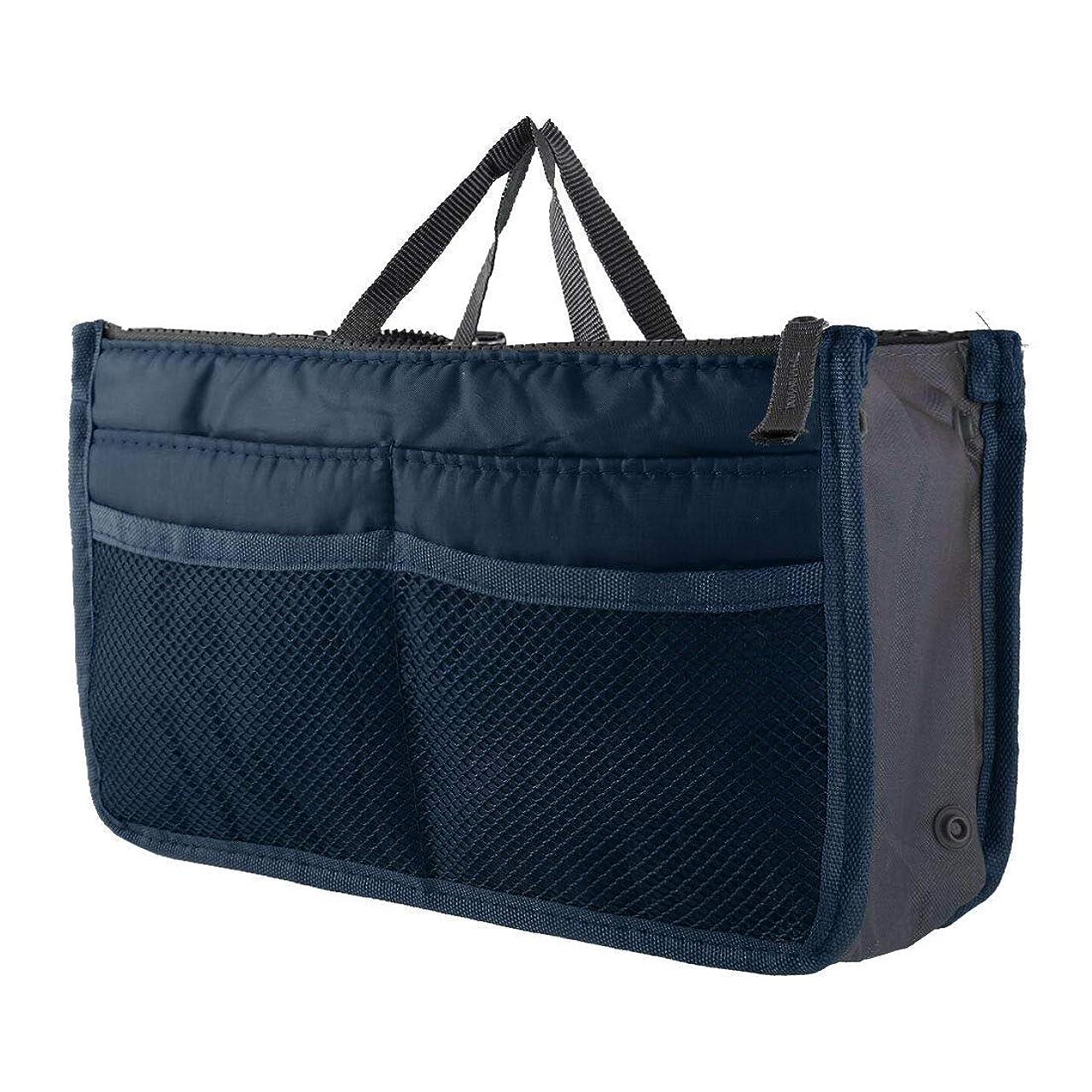 サスペンション変動する歯車FidgetGear Large Womens Wash Bag Toiletry Cosmetic Travel Make Up Handle Folding Organizer Navy Blue