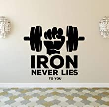 JiuJiu.YanCo,Ltd Gym Studio Decorative Stickers Iron Never Lies to You Quote Wall Sticker Muscle Strength Dumbbell Design Vinyl Decal42x37cm