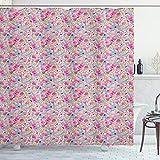 ABAKUHAUS Baby Duschvorhang, Kawaii Hasen & Süßigkeiten, mit 12 Ringe Set Wasserdicht Stielvoll Modern Farbfest & Schimmel Resistent, 175x220 cm, Türkis Senf Rosa