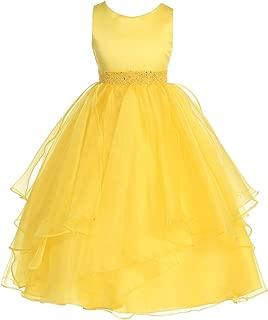 Girls Asymmetric Ruffles Satin/Organza Flower Girl Dress