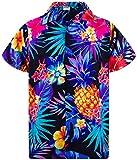 King Kameha Funky Hawaiihemd, Kurzarm, Ananas, Schwarz Blau, S