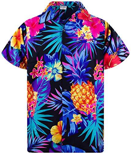 King Kameha Funky Hawaiihemd, Kurzarm, Ananas, Schwarz Blau, XS