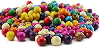 BcPowr 250 PCS Assorted Color Round Wood Beads,Large Hole Round Wood Spacer Beads for DIY Project, Wooden Spacer Beads