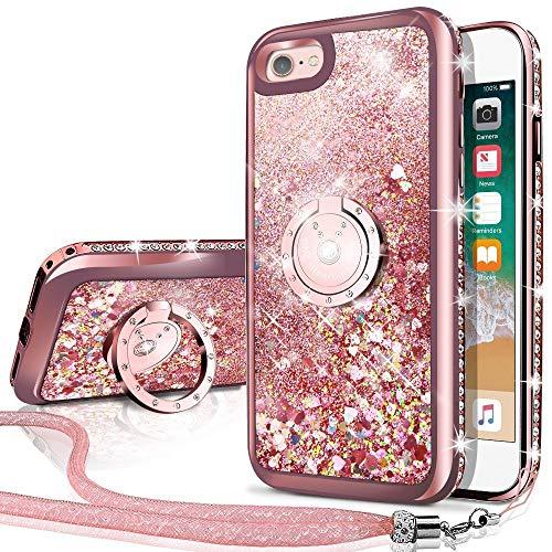 Miss Arts Cover iPhone 6S Plus, Custodia iPhone 6 Plus, [Silverback] Glitter di in Morbido TPU con Supporto, Pendenza Colore Diamond Rhinestone Liquido Cover Case per Apple iPhone 6/6S Plus -Oro Rosa