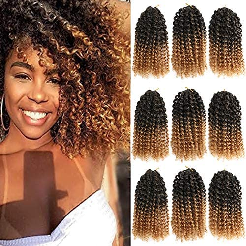 8 Inch Short Marlybob Crochet Hair 9 Bundles Lot Afro Kinky Curly Crochet Braids Ombre Braiding product image