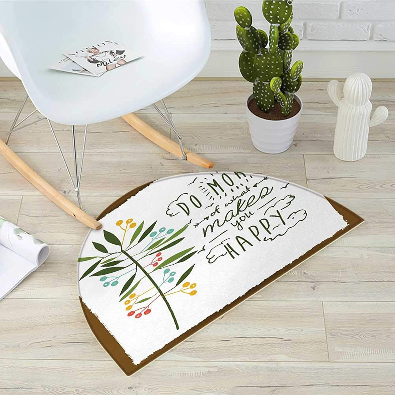 Quotes Semicircular CushionProgress Ideas Design Ideology Mindfulness Olive Fruits Flying Birds Leaf Entry Door Mat H 31.5  xD 47.2  Forest Green Brown