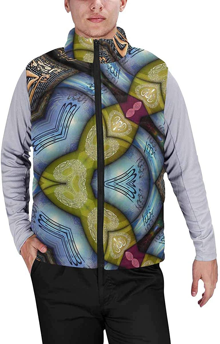 InterestPrint Men's Lightweight Vest Softshell for Camp Kaleidoscopic Wallpaper Tiles XL