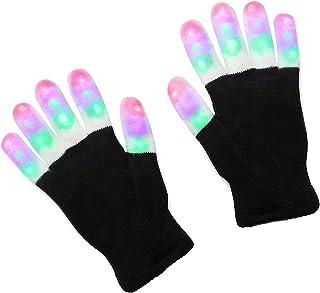 LED Handschuhe mit 3 Lichtfarbe und 6 Modus, leuchtende Handschuhe, Spielzeuge Gloves für Weihnachten, Halloween, Party und Karneval, blinkende Kostüm Beleuchtung Geschenke für Kinder, Mädchen, Junge