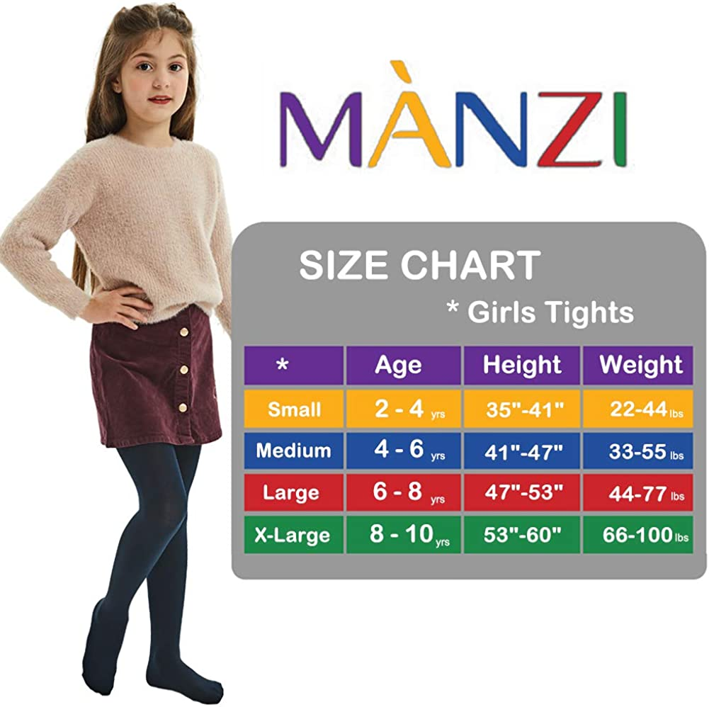 Clothing Girls MANZI Fleece Lined Tights for Girls Thick Footed ...