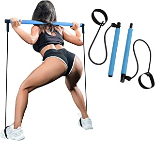 SIYWINA Pilates Stick Bar Kit Yoga Stick with Foot Loop Portable Fitness Resistance Bands for Home Sports Exercise Equipment