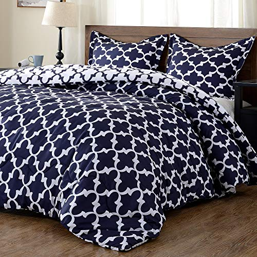 downluxe Lightweight Printed Comforter Set (King,Navy) with 2 Pillow Sham - 3-Piece Set - Down Alternative Reversible Comforter