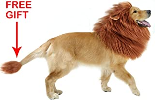 GABOSS Lion Mane Costume for Dog, Dog Lion Wig for Dog Large Pet Festival Party Fancy Hair Dog Clothes(Ear and Tail)