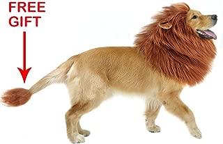 GABOSS Lion Mane Costume Dog, Dog Lion Wig Large Dog,Pet Halloween Party Fancy Hair Dog Clothes (Dark Brown Ear & Tail)