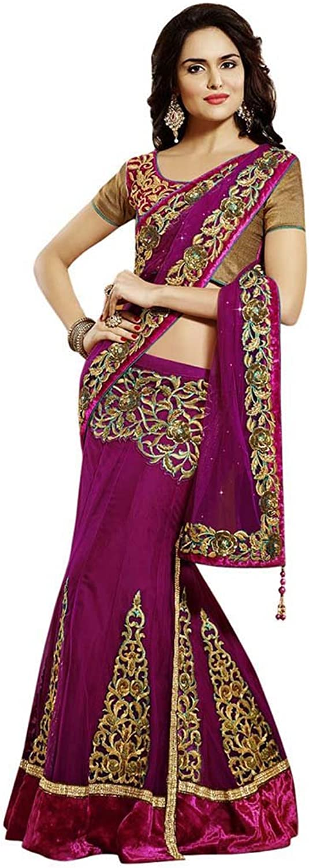 INMONARCH Womens Very Attractive Net And Satin Lehenga Saree SSA3303