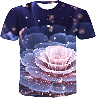 XIELH Summer leisure fitness beach vacation unisex round neck 3D printed large size T-shirt shirt