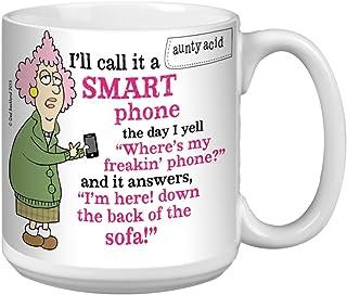 Tree-Free Greetings Extra Large 20-Ounce Ceramic Coffee Mug, Aunty Acid Not So Smart Phone