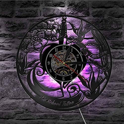 kkkjjj Reloj de Pared de Vinilo Vintage Old School Tattoo Studio Disco de Vinilo Reloj de Pared Salón de Tatuaje Máquina de Tatuaje Reloj Art Deco de Pared Reloj de Moda