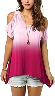 VESKRE Women's Short Sleeve Slim Off Shouder Gradient Colour T-Shirt Blouse Tops