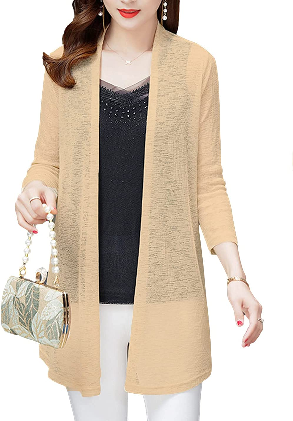 AMEBELLE Women's 3/4 Sleeve Mid Long Cotton Linen Open Front Sheer Cardigan Outwears