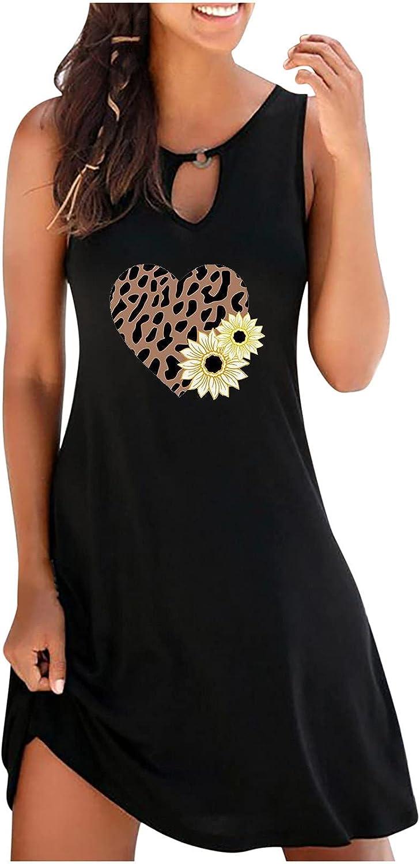 Women's Summer Vintage Mid Dress O-Neck Sleeveless Sunflower Printed Round Button Dresses
