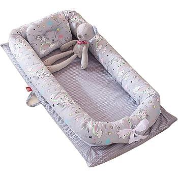 DorkasDE Babynest Kuschelnest Matratze im Bett Faltbett Tragbar Babybett Reisebett