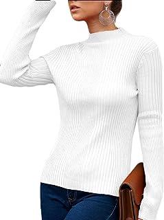 Women Knit Sweater Long Sleeve Pullover Mock Neck Sweater