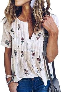 WLLW Women's Bohemian Short Sleeve V Neck Floral Print T Shirt Tops Blouse Tee