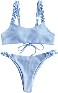 Women's Ribbed Lace Up Lettuce Strap Two Pieces Bikini Set Swimsuit